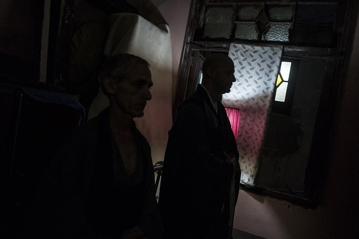Michel with one of his pupils in Zen dojo centre of Havana.