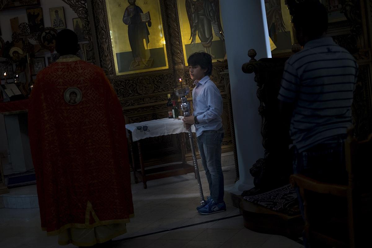 A liturgy is performed in the Greek Orthodox Church in Havana.