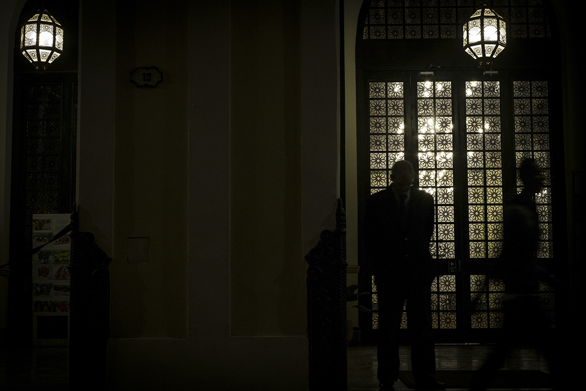 A security guard keeps watch in the area of the Abdallah Mosque 24 hours a day.