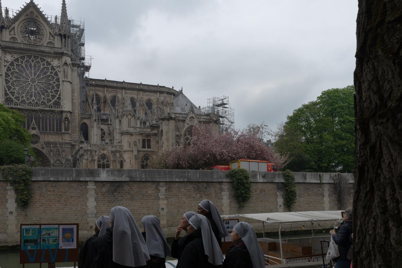 Incendie de Notre Dame de Paris - Avril 2019 - Le lendemain - Un groupe de religieuses regarde la cathédrale.