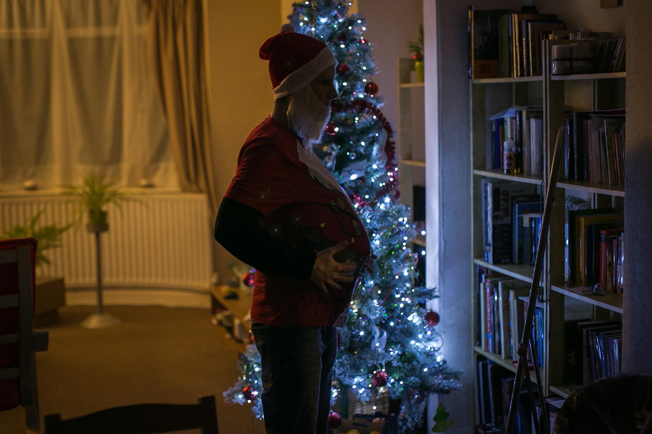 Agnieszka as Santa Claus in Leamington Spa. December 2018