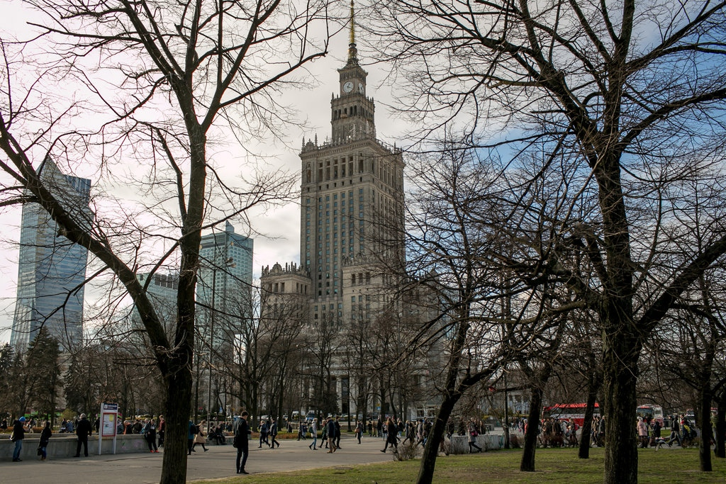 The palace of Culture and Science, which hosts Warsaw's City Council. The mayor introduced a declaration last month aimed at promoting tolerance for the L.G.B.T. community. Warsaw, 2019