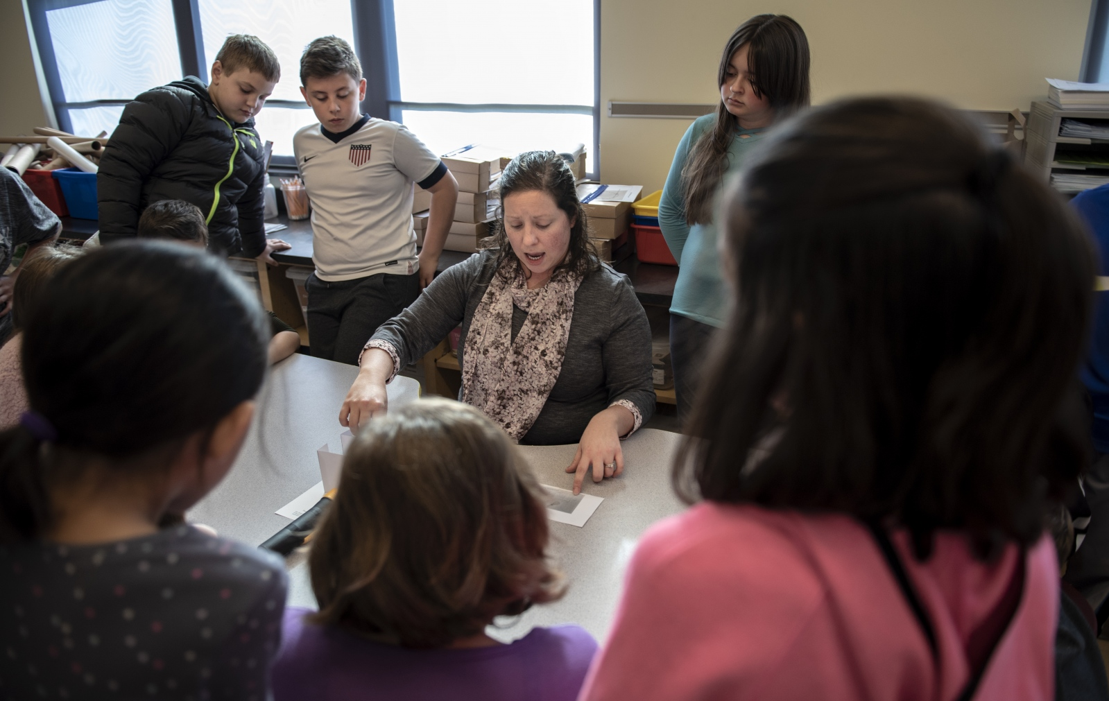 Tara Pollick teaches students how to do the light experiment in the STEM class on Oct. 17, 2018, at Ferguson Township Elementary School in State College, Pa.