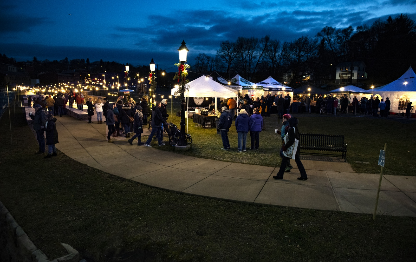 The Bellefonte Lights Winter Market is held along the waterfront walk and the Lamb Street bridge Saturday, Dec. 8, 2018, in Bellefonte, Pa.