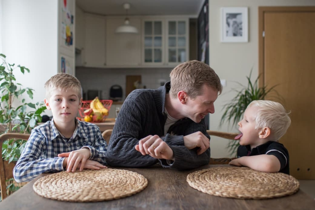 Tadek at home with his two sons. Poland BuzzFeed News