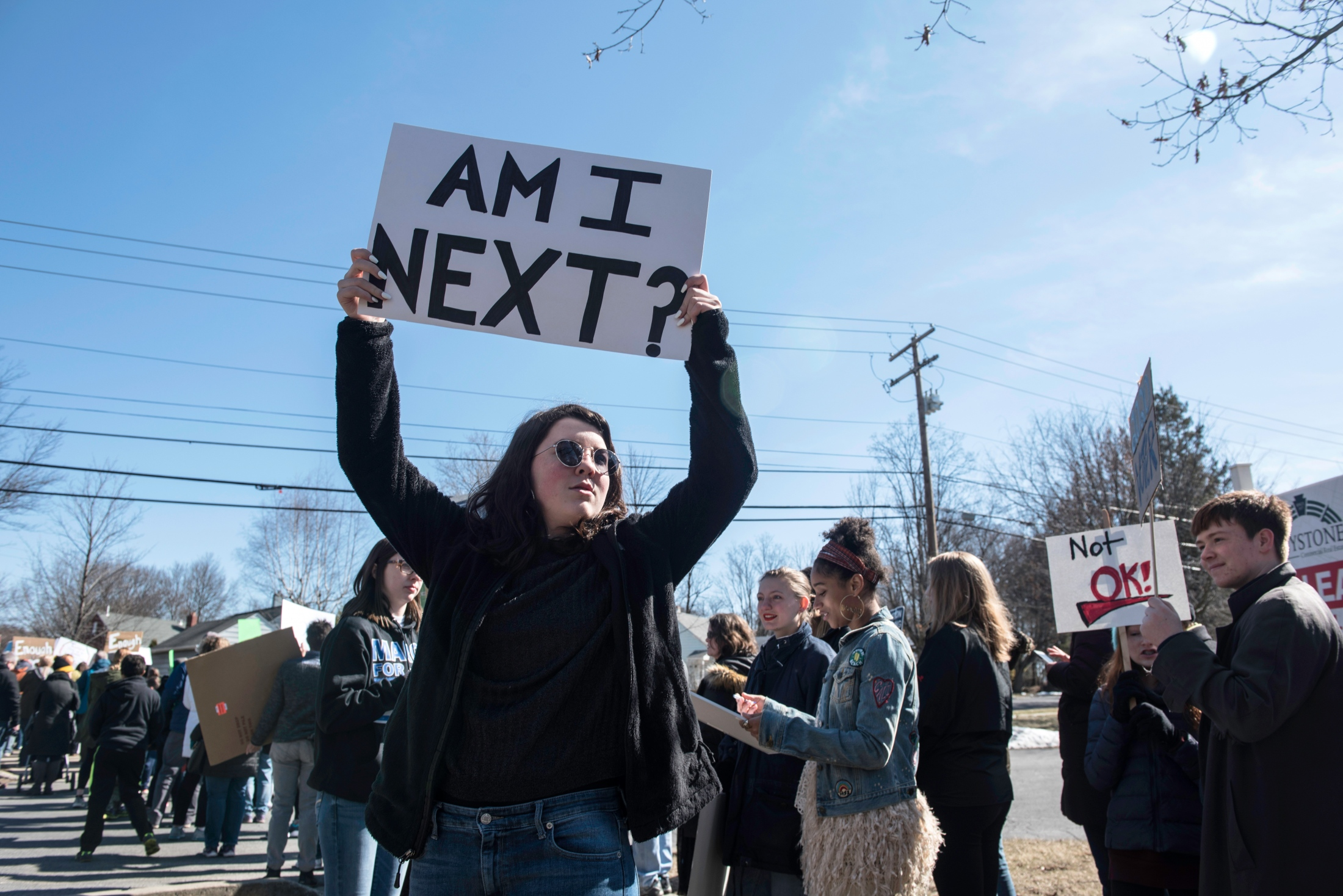People gather together for March For Lives in State College, PA, Saturday, March 11, 2018.
