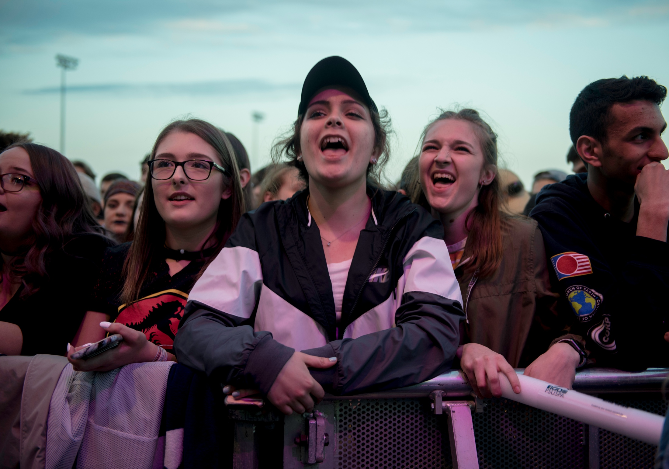 Music fans watch the Movin On Concert at Penn State University, in State College, PA, on April 27, 2018.