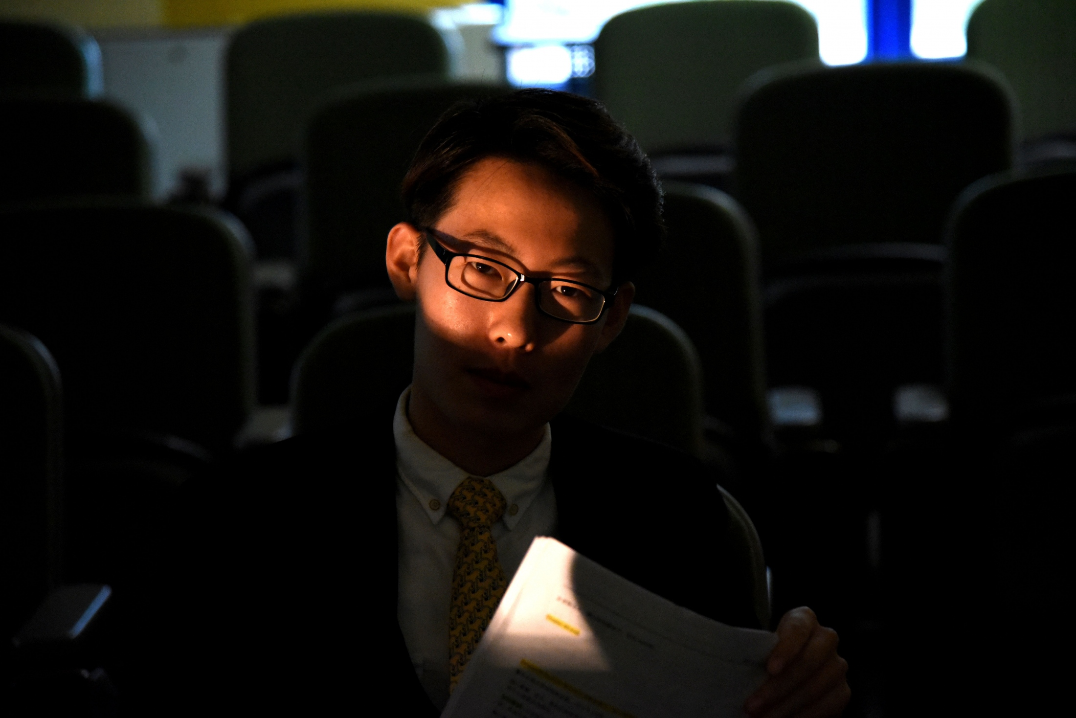 Polaris Cao recites his lines for his upcoming show in a classroom at Penn State, in Oct 2017.