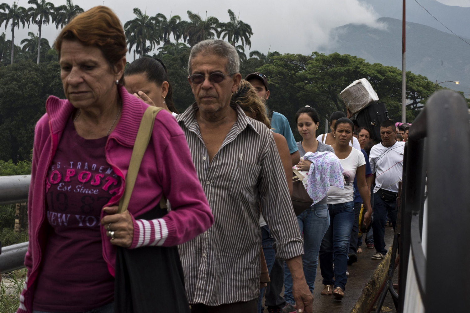 Hundreds of people cross from Venezuela to Colombia through the Simon Bolivar border point to find medicines, food, supplies or to receive attention in Colombian hospitals on  March 2017 in Cucuta, Colombia.