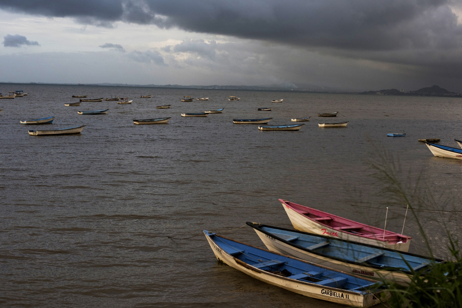Boats in the midst of the sea, at San Fernando in Trinidad and Tobago.
