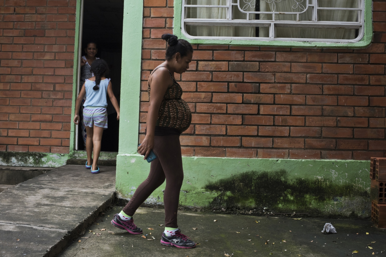 Esperenza Cumplido Rivera, a Colombian woman who is eight months pregnant moved back to Colombia after 14 years in Venezuela due to the lack of health services in Venezuela in front of her house in the La Concordia neighborhood on March , 2017 in Cucuta, Colombia.