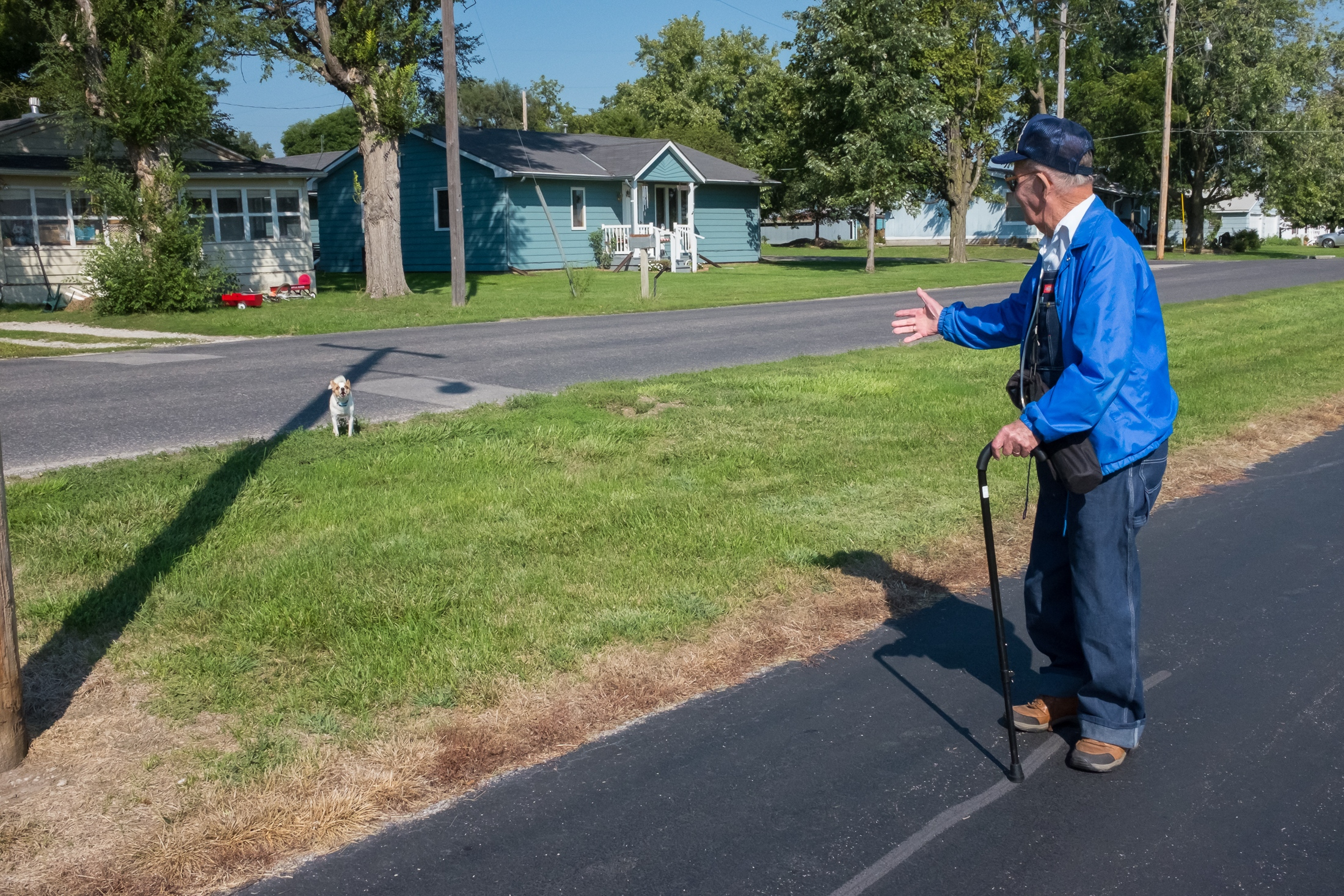 On his morning walk, Jay has been known to speak to everyone he passes including dogs.