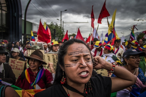 Katy Betancourt, leader of women, marches during the indigenous    levying against the regime of Rafael Correa.    Quito,2015    Johis Alarcón/ Facción Latina