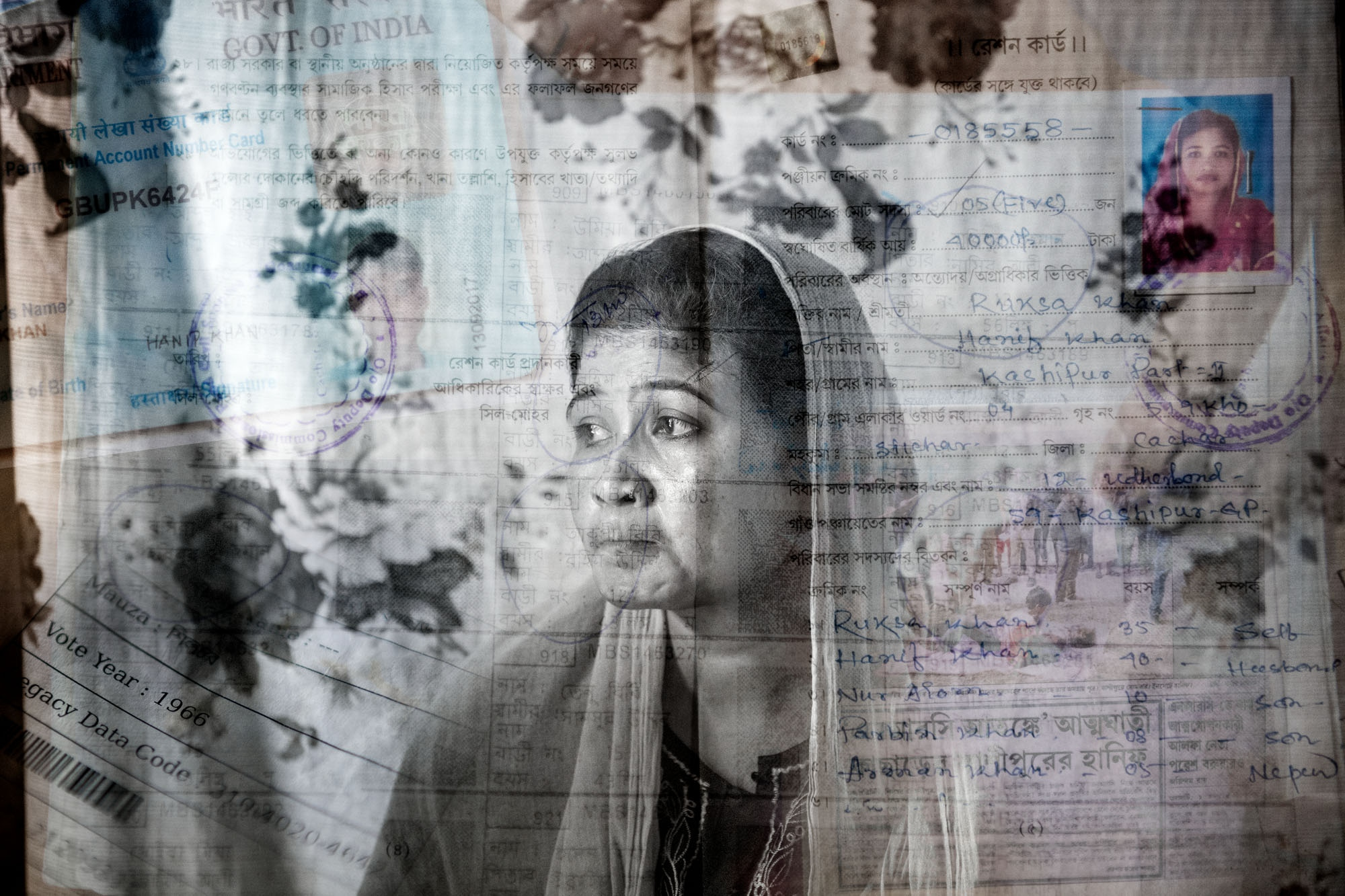 Ruksha Khan, 29 years, is not on the NRC final draft list. When her husband found out that he was not on the list he panicked and took his own life. Ruksha Khan is now left alone to care for their three children. She has documents showing her parents voted in 1966, a ration card, id card and tax listings proving her citizenship, but they are not accepted by the NRC authorities.