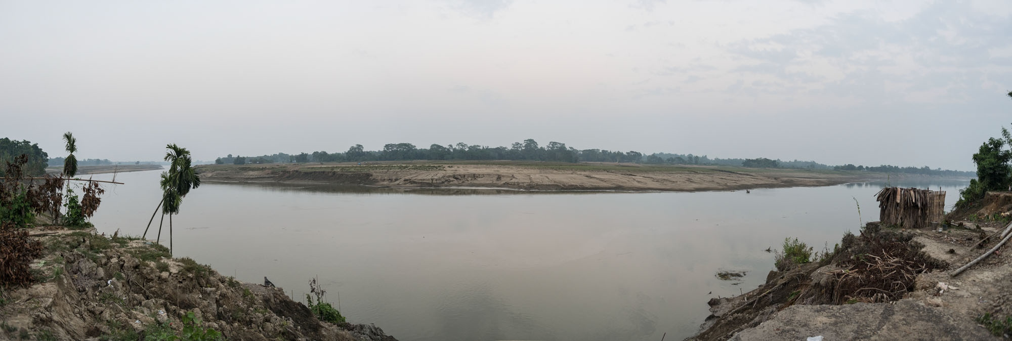 Panorama of Barak river outside of Silchar, Assam.
