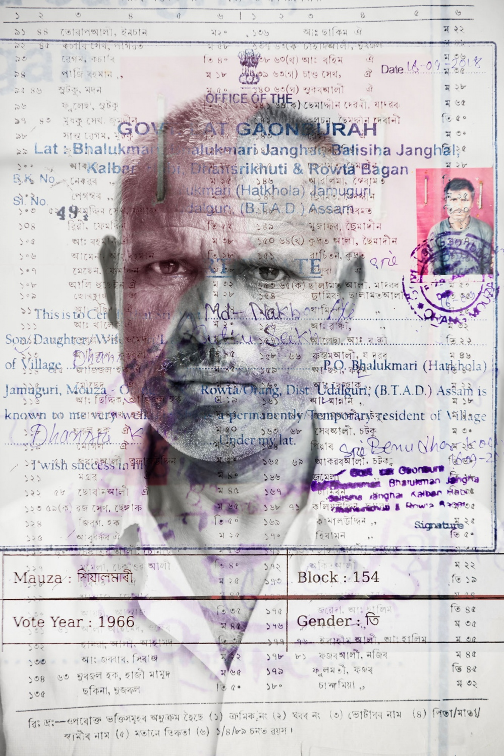 Nekbur Ali, 48 years old, was declared as a d-voter (doubtful voter) by the Election Commission without explanation. He has his parent's voter list from 1966 as well as a letter from the village head who confirms his identity.