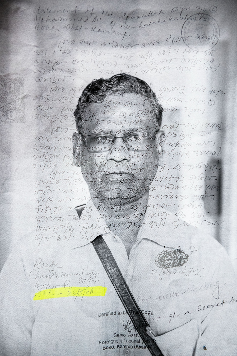 "MD. Sanaullah, honorary captain, served in the Indian Army from 1987 to 2017, before retiring. When the NRC list came out he found that he had an ongoing case in the Foreigners Tribunal. He was unaware of the case, which accused him of being an illegal immigrant. The Tribunal had received a falsified confession from someone claiming to be MD Sanaullah, but signed and dated at a time when he was stationed in Manipur with the Army. The document states that he came to India ""looking for a better life"" and entered the country ""through secret roads"". His father was a freedom fighter and has land documents from 1943."