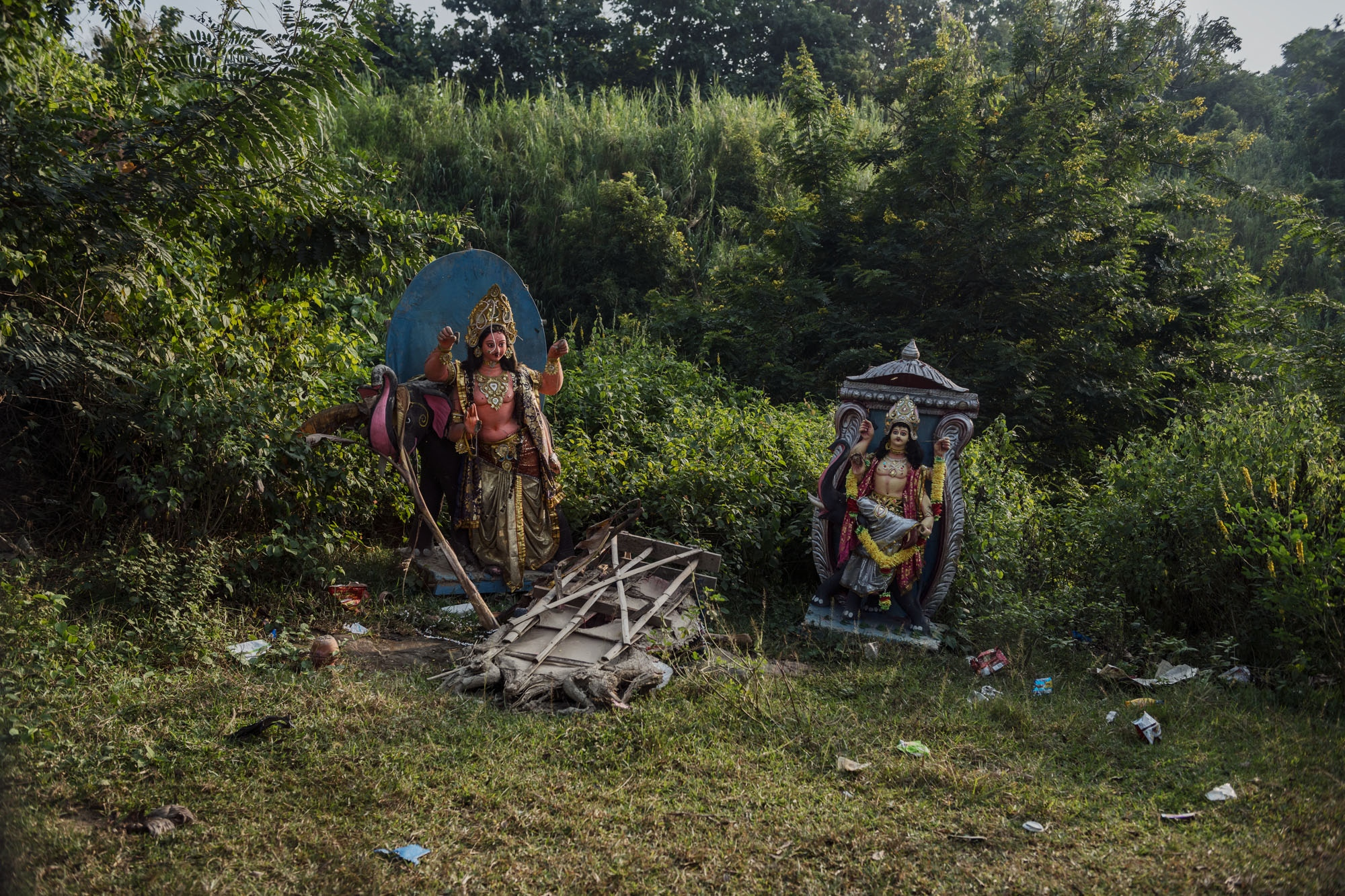 Hindu statues along a a road leading out of Guwahati, Assam, India.