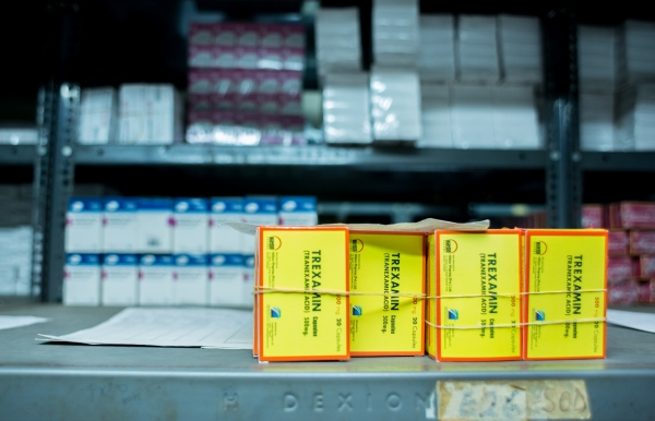 Some packs of Tranexamic acid in a shelf in the pharmacy store at the University College Hospital, (UCH) Ibadan