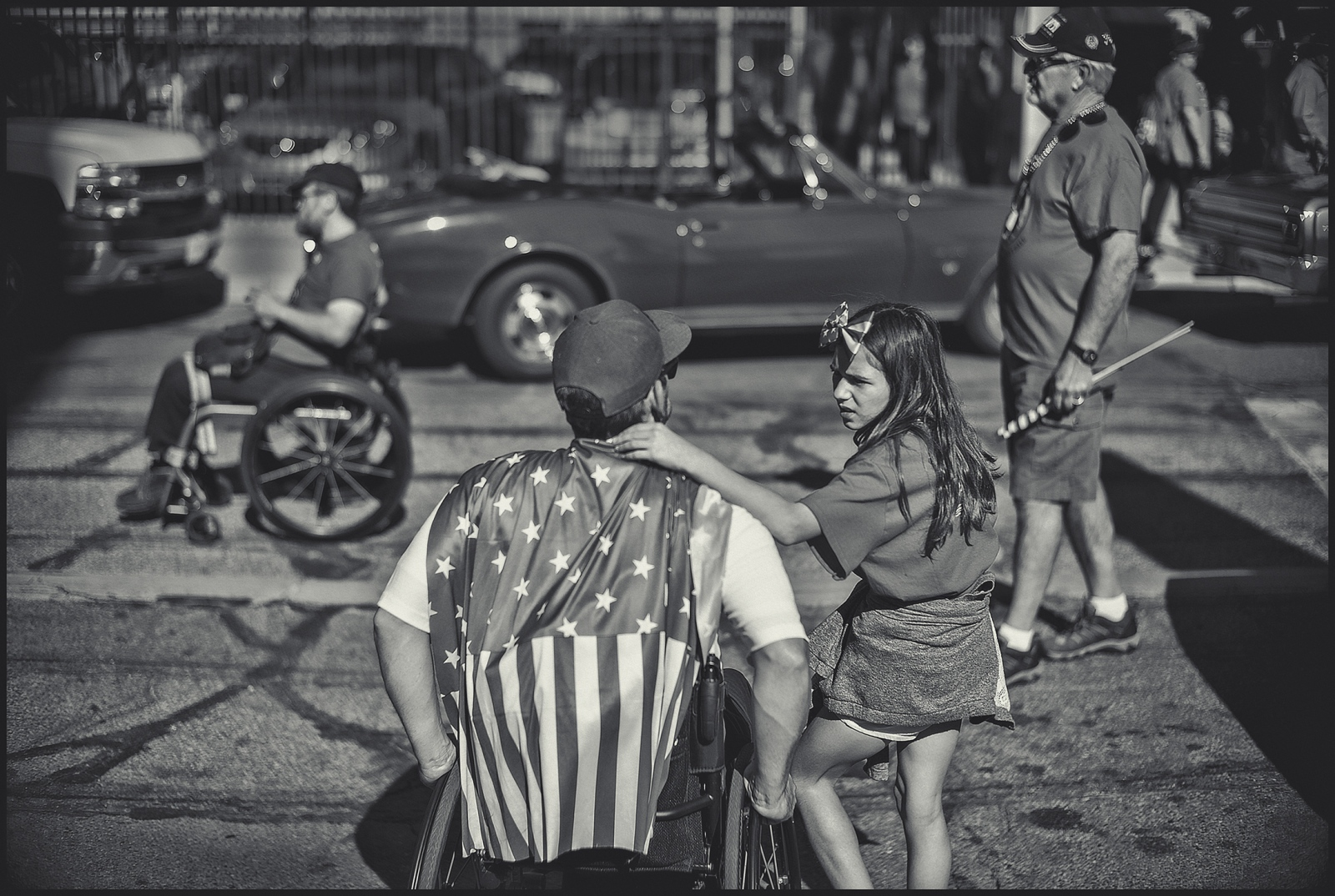 Veteran & daughter. Veterans Day parade. Tucson, AZ. 2016.