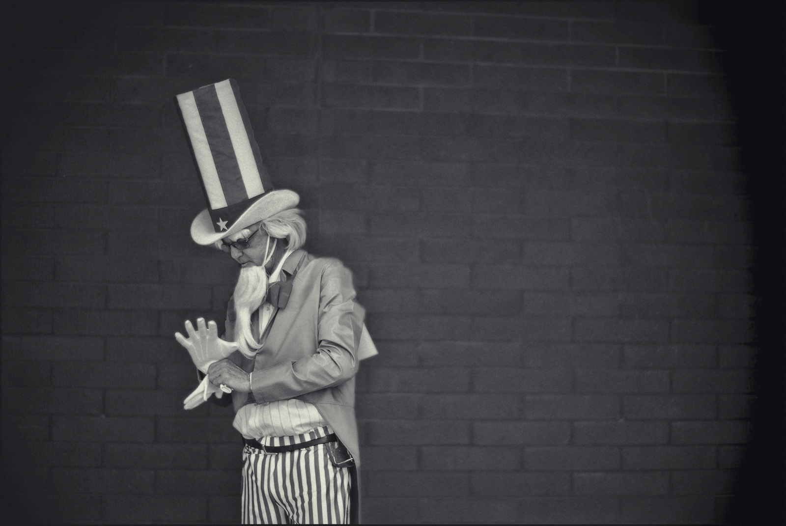 Ray Johnson, resident of Benson, Arizona as Uncle Sam during the 4th of July celebration in Benson, Arizona 4 July. 2018