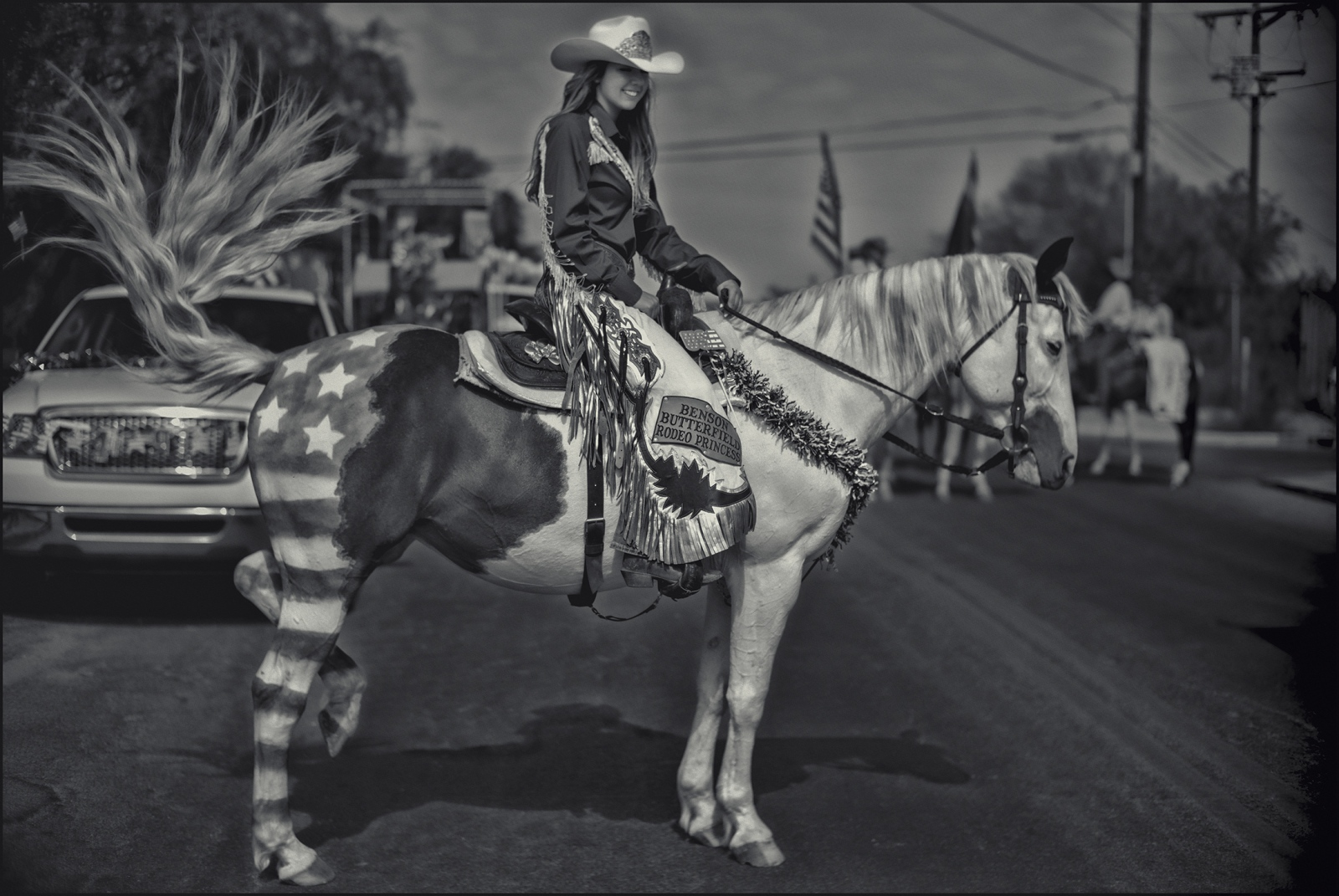 Rodeo princess at July 4th parade, Benson, AZ. 2018.