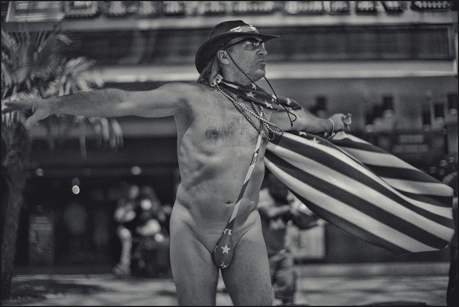 """Crazy Joe"" street performer. Fremont Street, Las Vegas,NV. 2018."