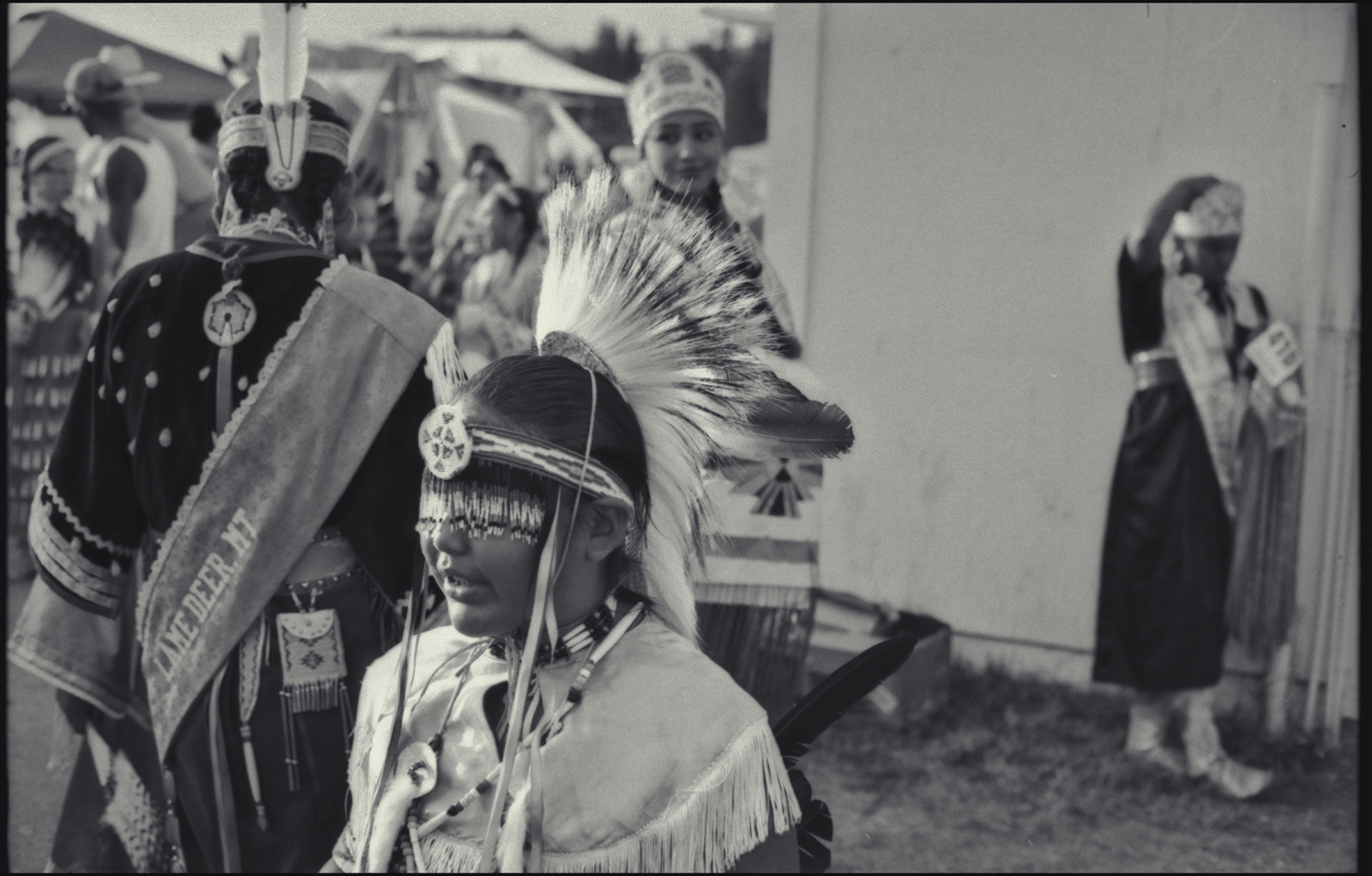 Prior to grand entry for annual pow wow. Northern Cheyenne Nation at Lame Deer, MT. 2015.