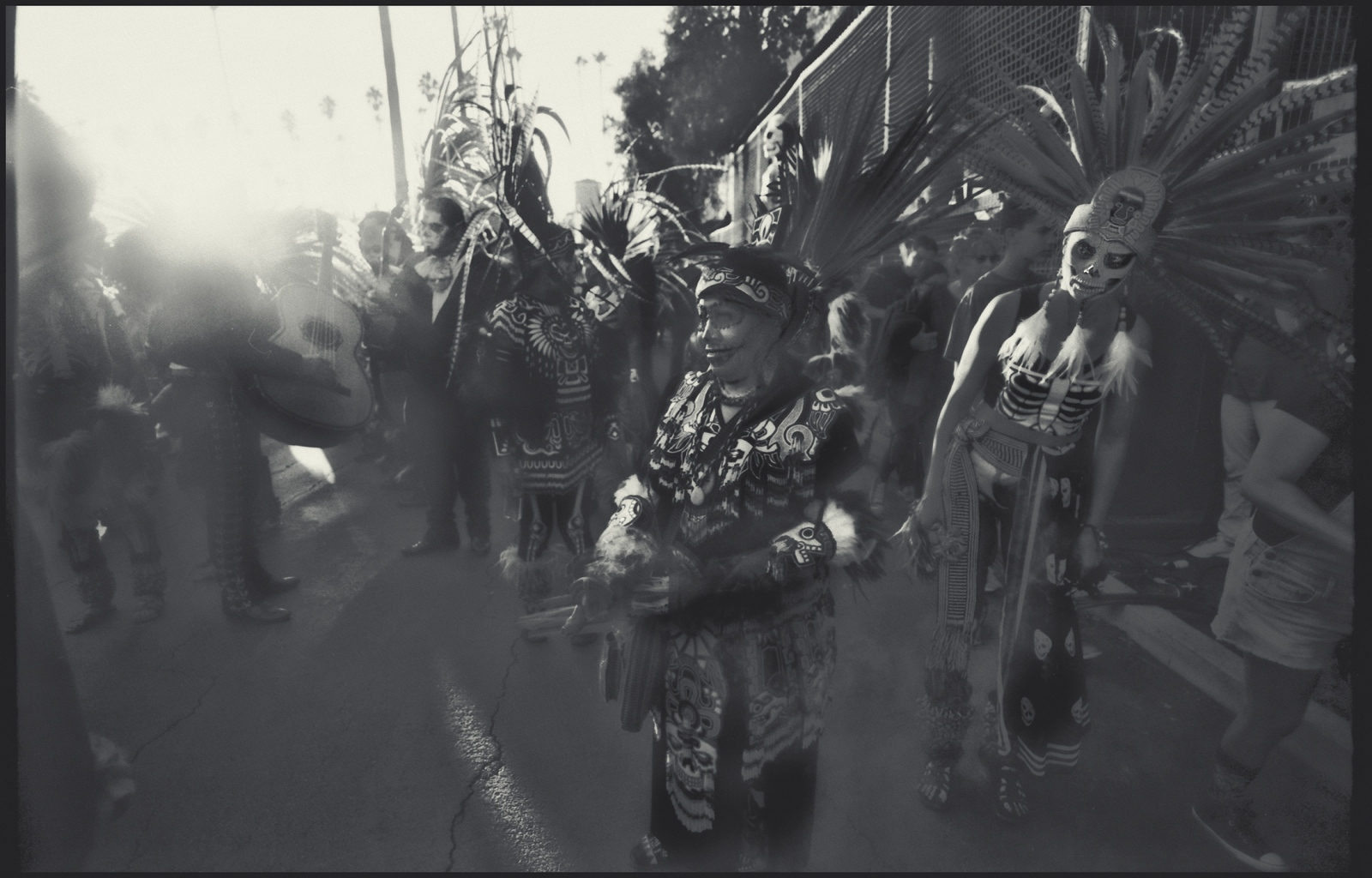 In Mayan ceremonial attire. Indigenous celebrants during Day of the Dead in Hollywood, Ca .2017.