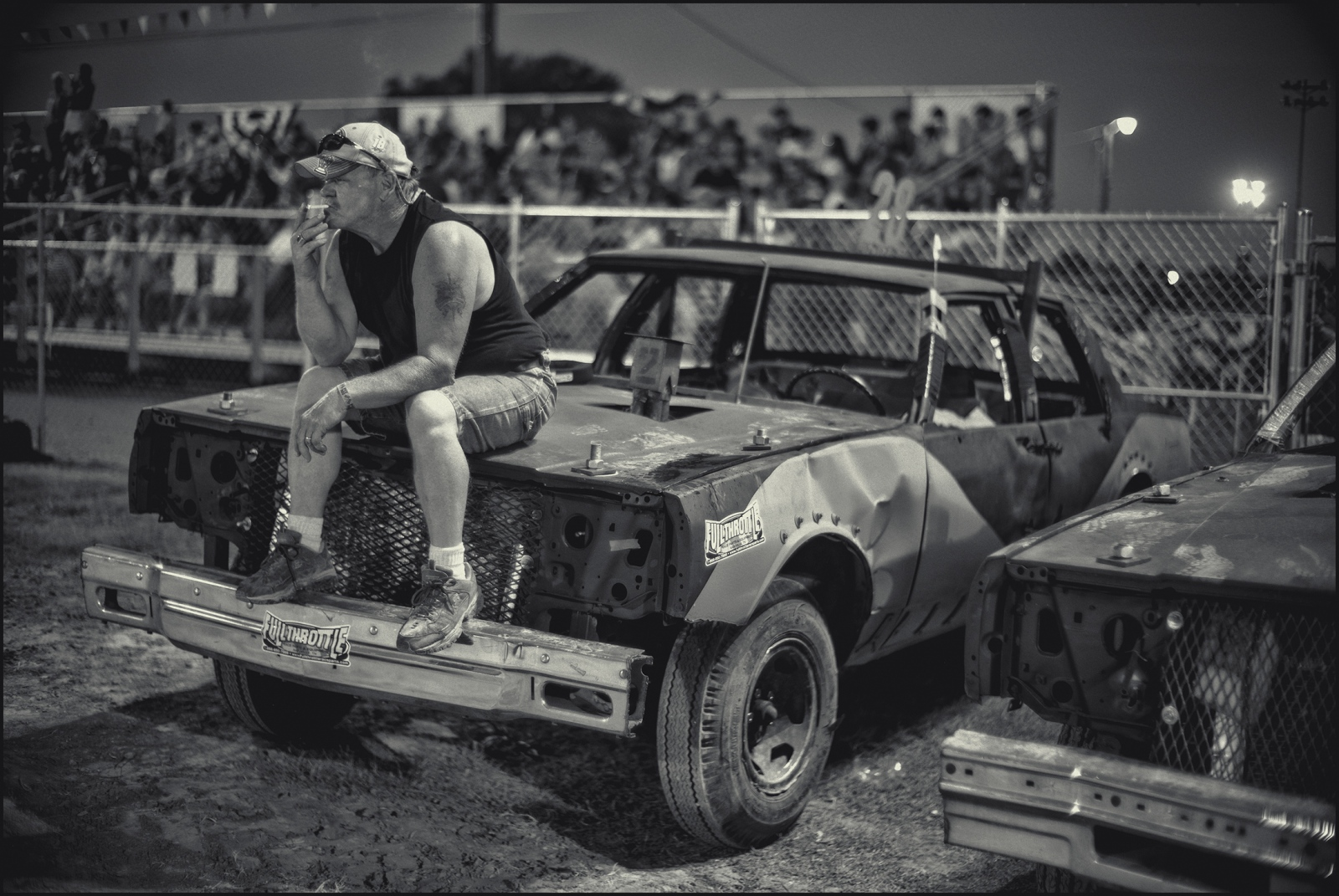 Behind scenes, county fair outside Nashville, TN, demolition derby. 2016.