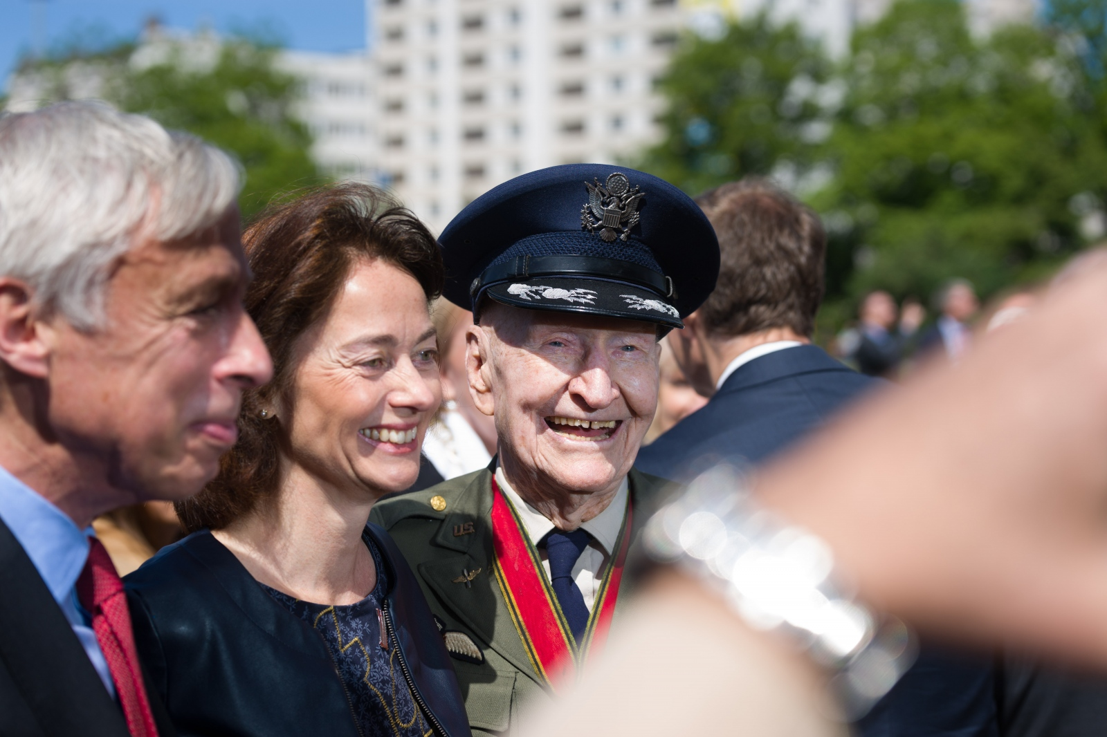 British Minister of State for Defence Earl Howe, German Federal Minister of Justice Katarina Barley and 98-year-old former U.S. Air Force pilot Gail Halvorsen pose for a picture after the ceremonial act for the 70th anniversary of the end of the Berlin Blockade. Berlin, May 12, 2019.