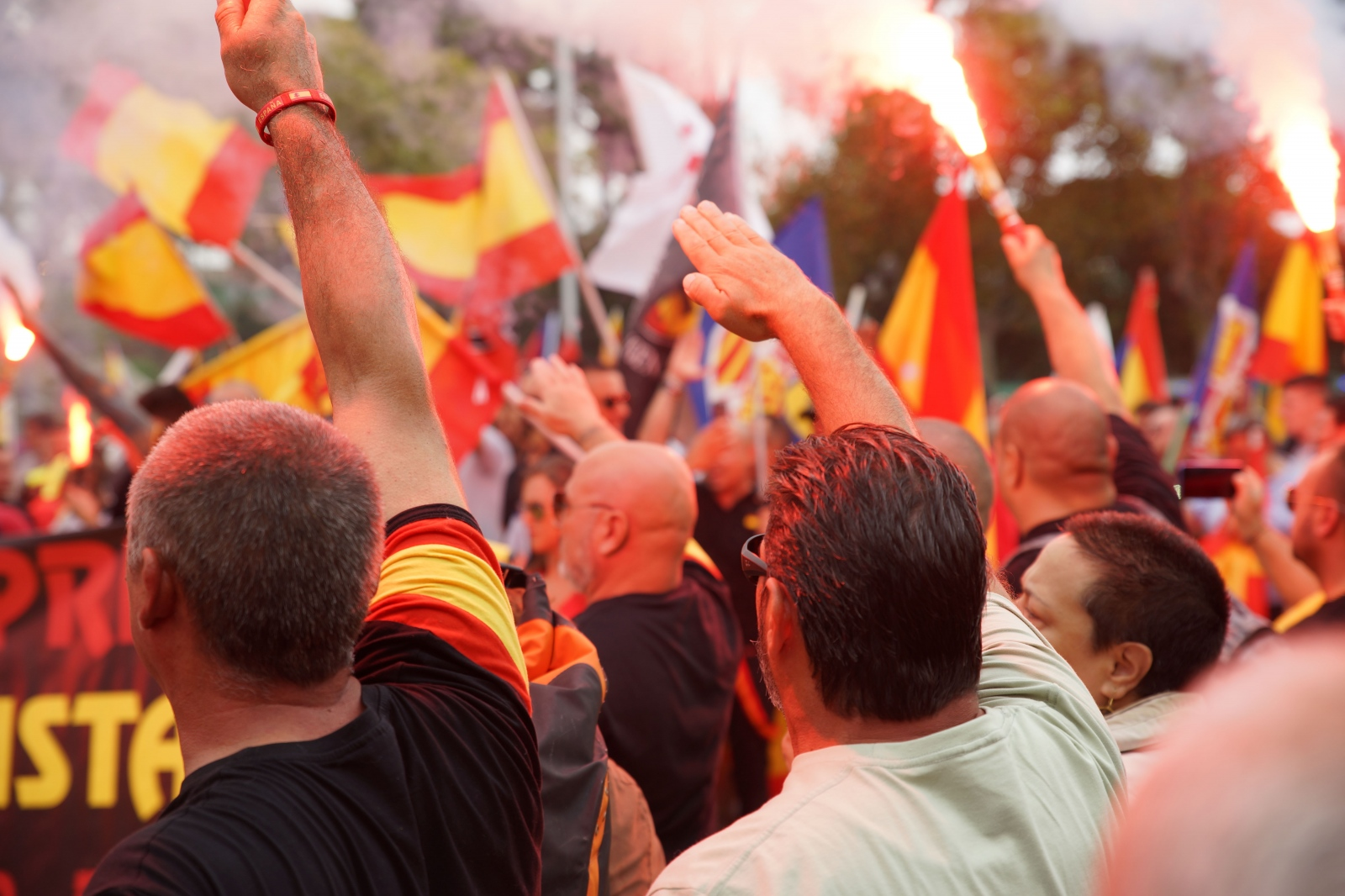 Spanish fascists openly show Nazi salutes for their annual meeting on the Spanish national holiday. Montjuïc, Barcelona, October 12, 2018.