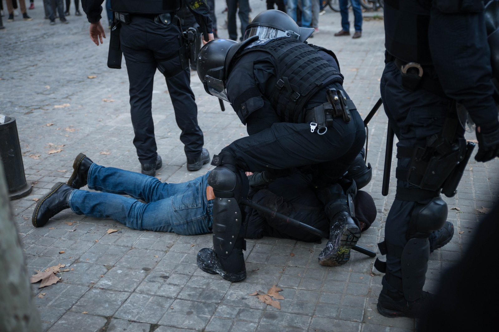 Police arrest a protester during clashes in central Barcelona. The Spanish cabinet meeting that usually takes place in Madrid drew heavy protests from Catalan separatists. It was protected by around 10.000 police forces of the Catalan as well as the Spanish national police that clashed on various occasions with protesters. According to the newspaper El País, at least 13 people were arrested. Barcelona, December 21, 2018.