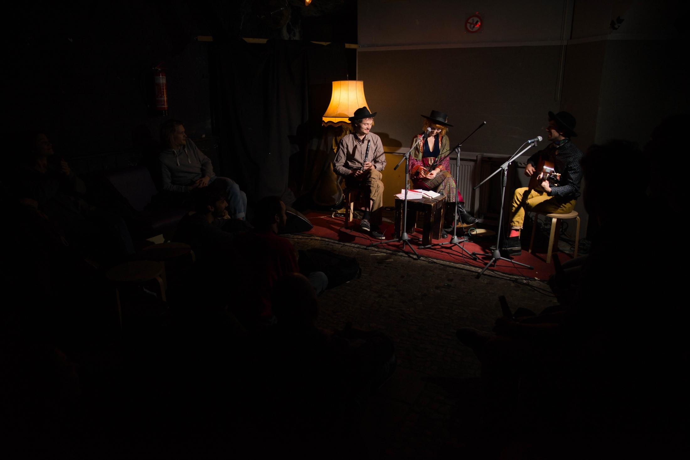 Muguet & Colibris play a concert at Madame Claude. Berlin, January 8, 2019.