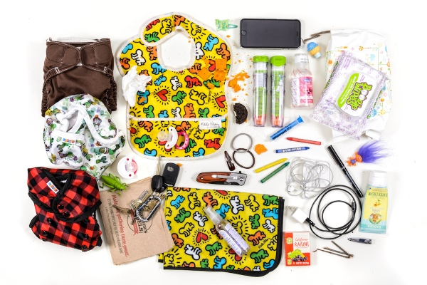 Contents of my diaper bag on any given day. Personal Project.