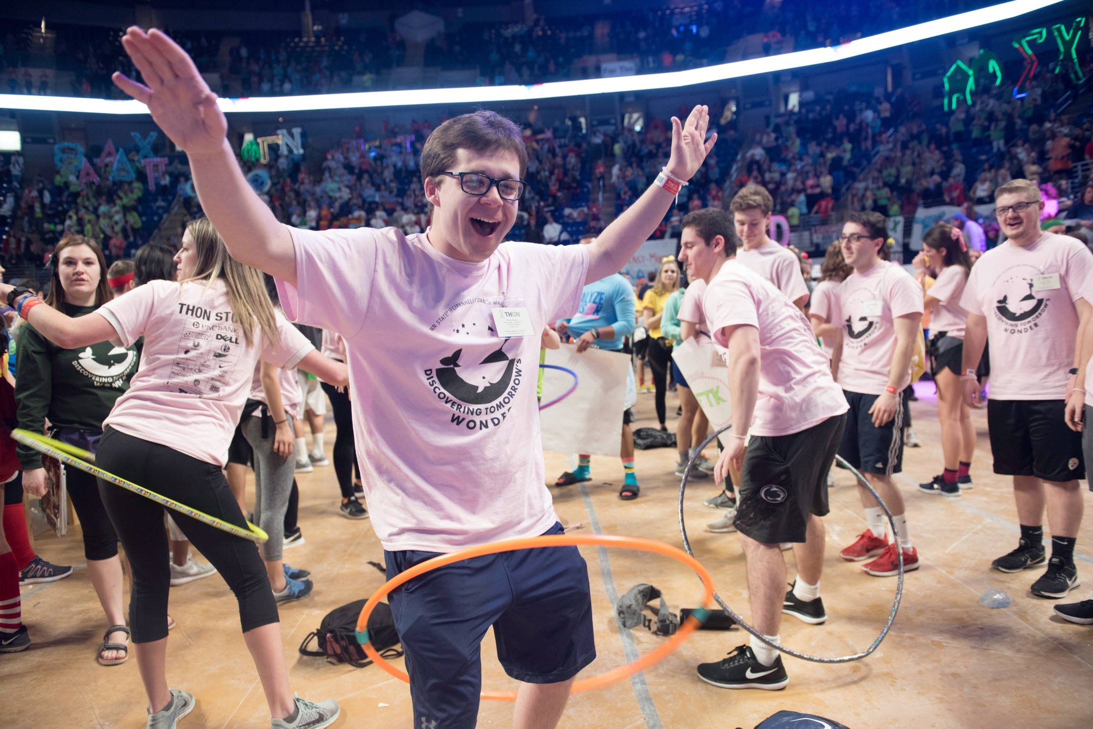 A student turns the hula hoop at Thon night at Penn State University, Saturday, on Feb 18, 2018.