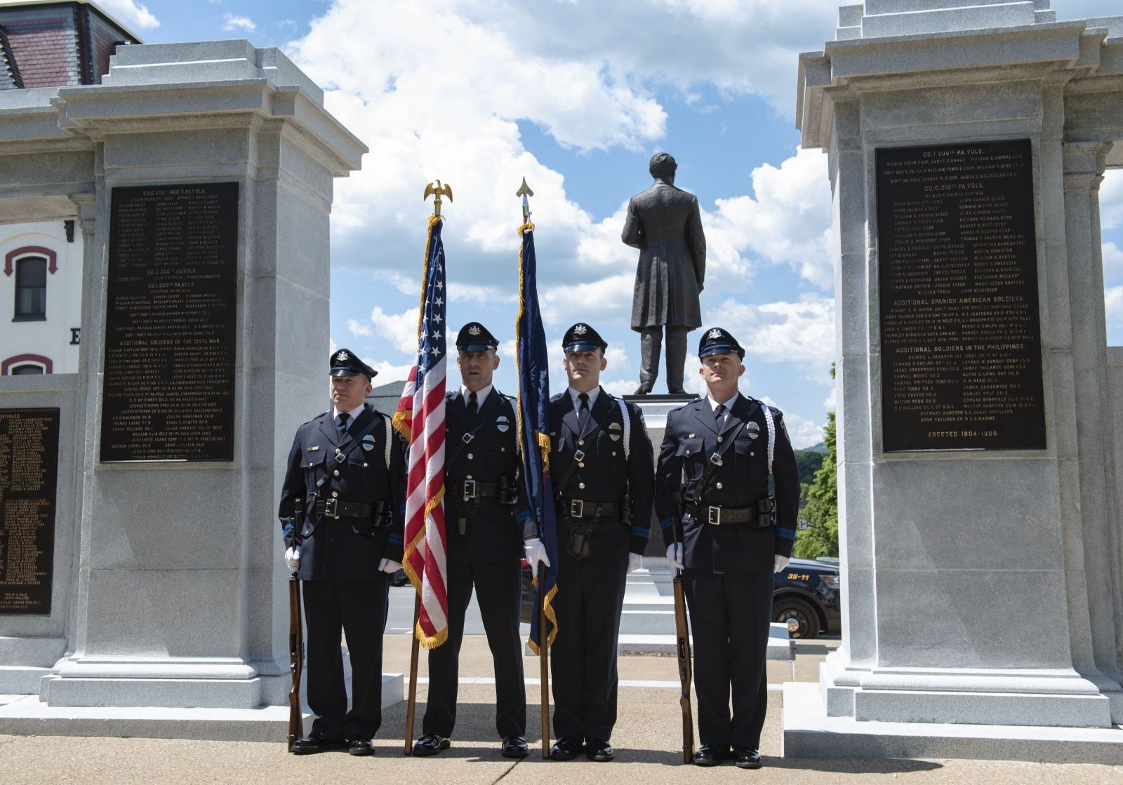 State College police officers attend the annual Centre County Law Enforcement Memorial ceremony at the Centre County Courthouse in Bellefonte on Wednesday, May 15, 2019.