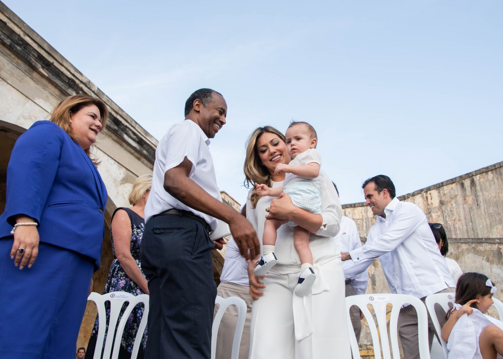 Jennifer Gonzales, Commissioned Resident of Puerto Rico in Washington, Ben Carson, United States Department of Housing and Urban Development (HUD), and Beatriz Rosselló, First Lady of Puerto Rico, during the anniversary of Hurricane María.
