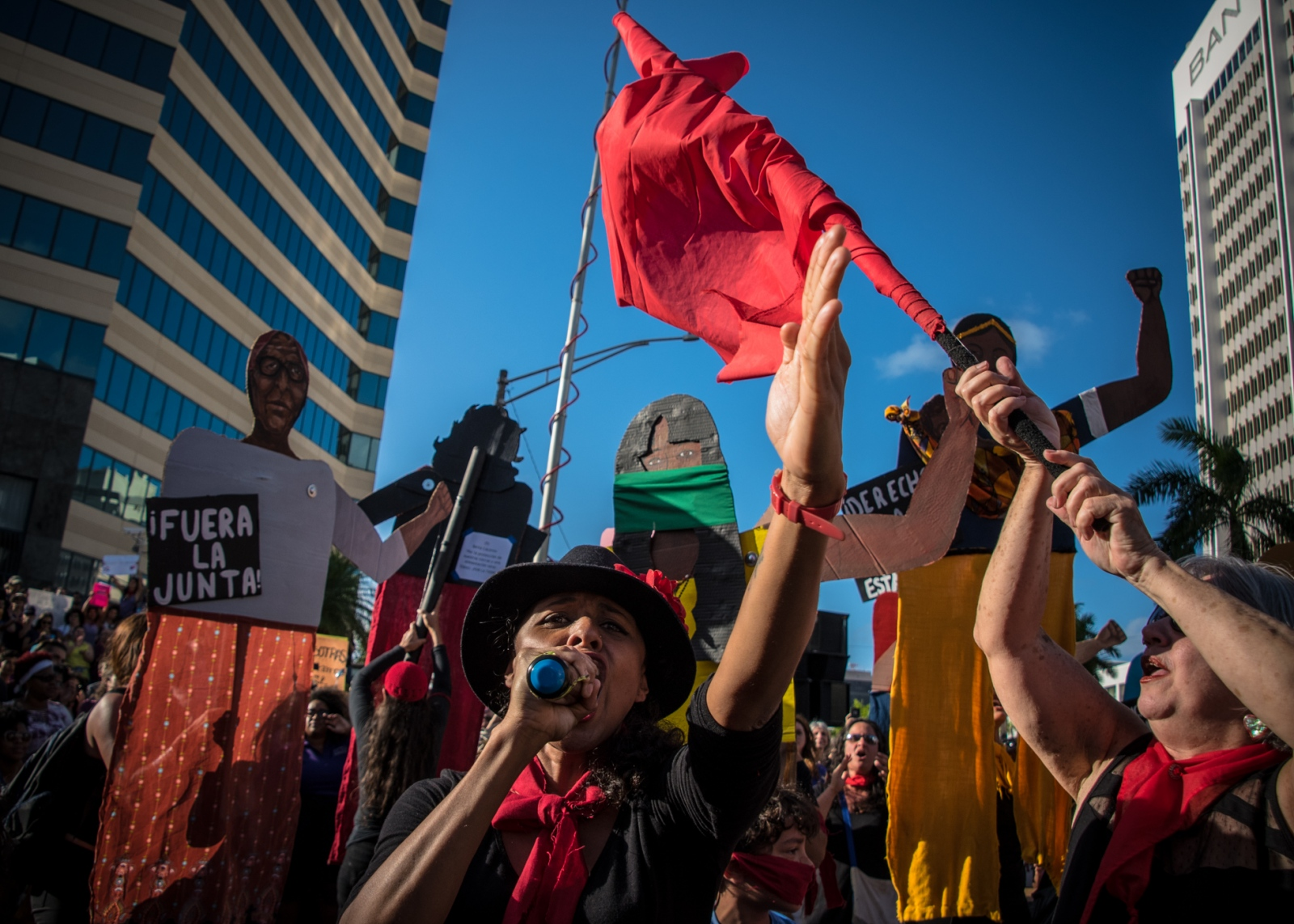 Papel Machete, a political puppeteer group, marches during the 2017 International Women Worker's Day in the Milla de Oro, Hato Rey, Puerto Rico.
