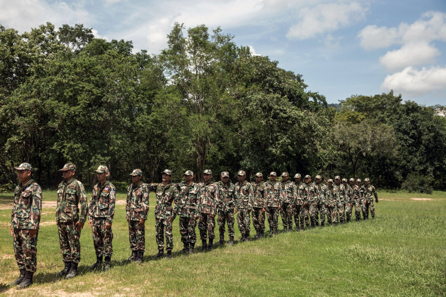 New forest ranger recruits take part in a week long training course supported by Freeland at a remote ranger station in eastern Thailand. Ta Praya National Park, Sa Kaew Province - September 2018