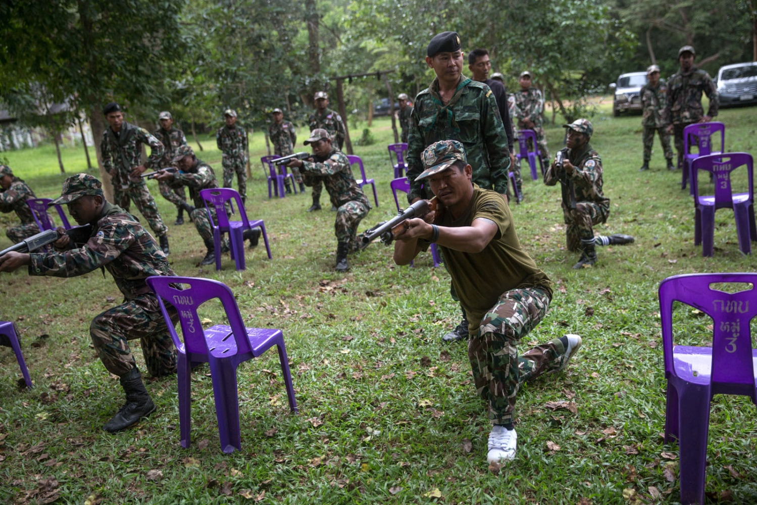 New forest ranger recruits have weapons training as part of a week long course at a remote ranger station in eastern Thailand. Ta Praya National Park, Sa Kaew Province - September 2018