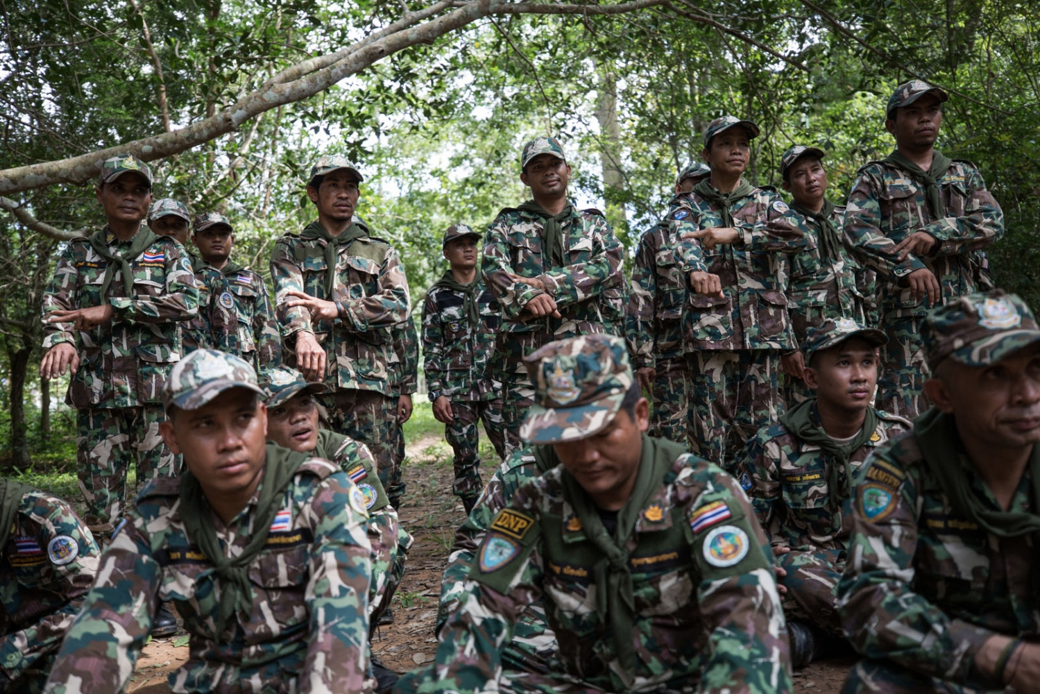 New recruits and those on a refresher course take part in activities during a 4 day forest ranger training course in Ta Praya National Park. Ta Praya National Park, Sa Kaew Province - September 2018