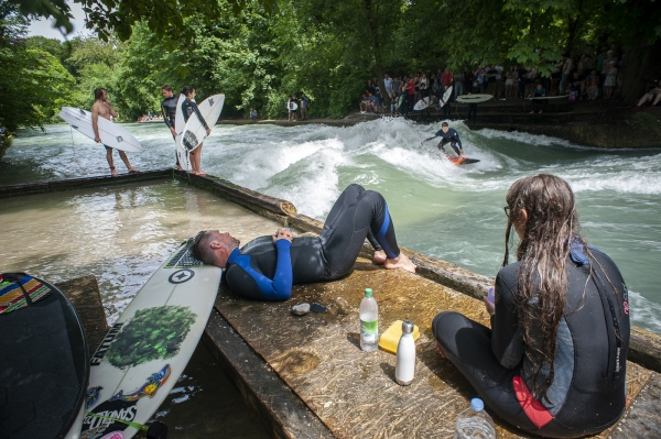 A spectacle of River Surfing takes place annually in the last weekend of July at the Eisbach in Munich.  Announced only several days before the competition itself the surfers will clash to see who is the acknowledged best. 'It's also just a cool place to hang out', says Rapid Surf League co-founder Christian Bach.