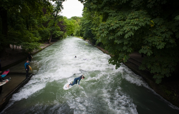 The Eisbach, Munich, Bavaria, Germany.