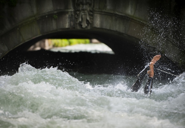 In essence, the Eisbach is a narrow canal some 400 miles from the North Sea and 200 from the Adriatic with 8 tons of water per second rushing through it's middle, night and day. It's easy to understand why Munich has become known throughout much of Germany as 'The City of Surfing'.