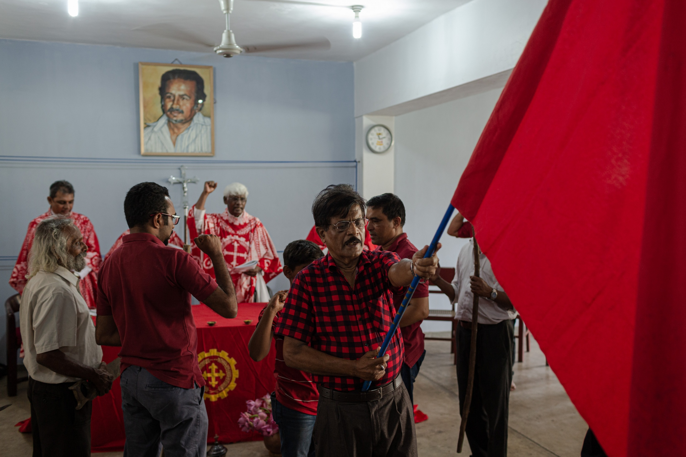 A secret meeting of the Socialist Christian Church in Colombo, at a time when all gatherings of people and religious ceremonies were banned under the emergency laws. (May, 2019)