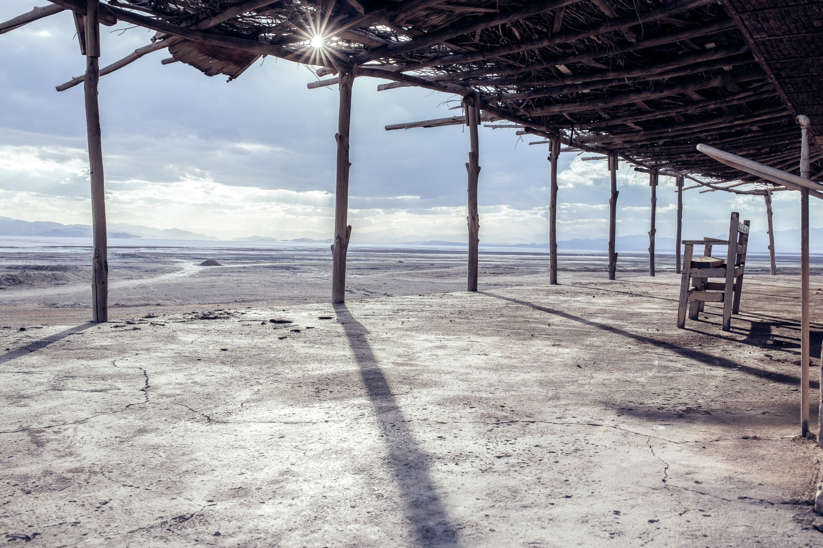 "A desolate teahouse in ""Sheikh-Wali"" coastal village located at the northeast of Lake. This teahouse was just beside water and you could see the waves and the Lake water from the closest distance.  Lake Urmia 