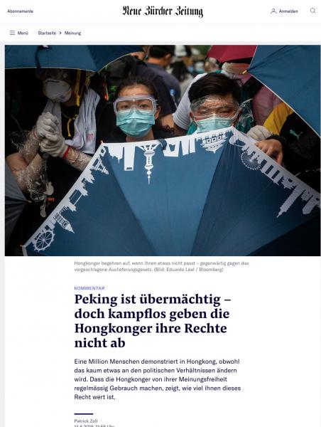 Neue Zürcher Zeitung, June 2019