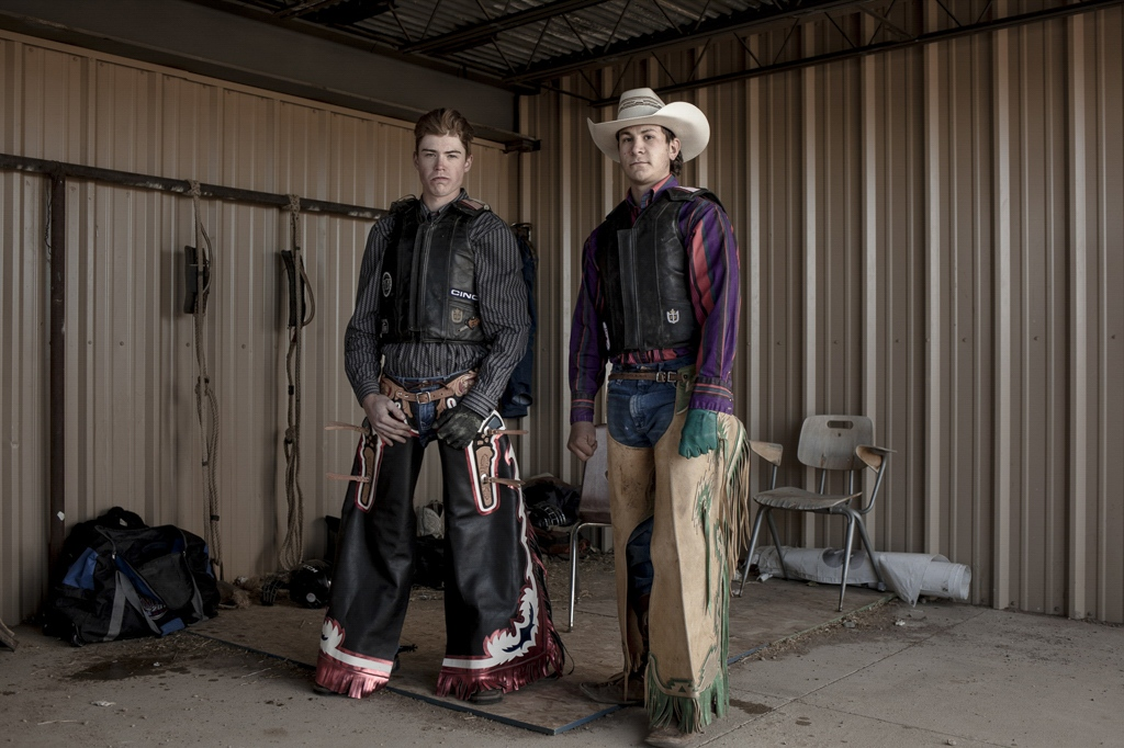 Bullriders at the backstage. Alamosa, Colorado.