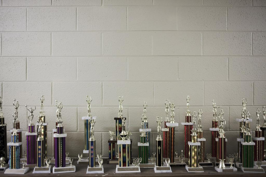 Mountain Valley School trophies. Saguache, Colorado.